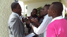 Dr.Frank Habineza, with the Press at the Rwandan Parliament