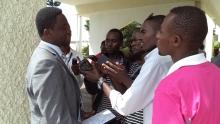 Dr.Frank Habineza, with the Press at the Rwandan Parliament