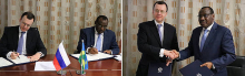 In Moscow, Rwanda's Infrastructure Minister Claver Gatete signs nuclear deal with Alexey Likhachev, the director general of Russia's ROSATOM