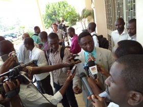 Dr.Frank Habineza, with the media after the court ruling