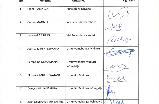 List of Executive Committee Members certified by Public Notary