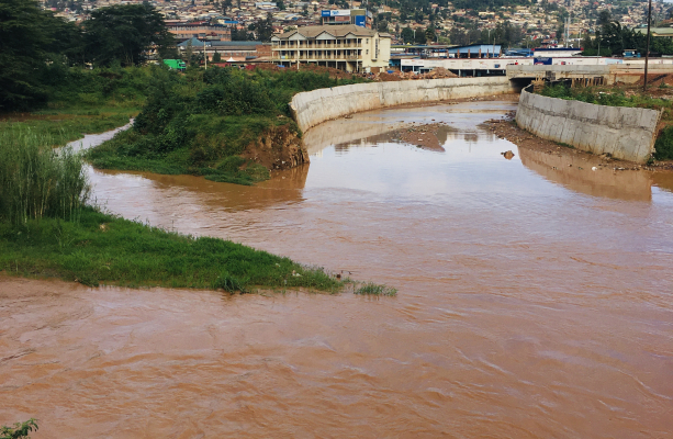 The colour River Nyabugogo  polluted by Soil erosion