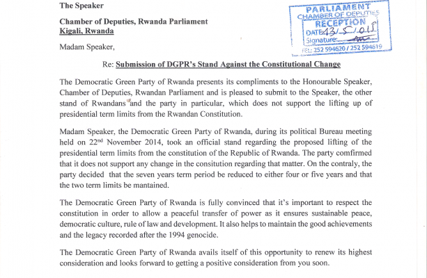 Official Letter to the Speaker of Rwandan Parliament